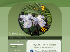 Irises and Hostas in a Circle Silvery Green Wide Free WordPress Theme