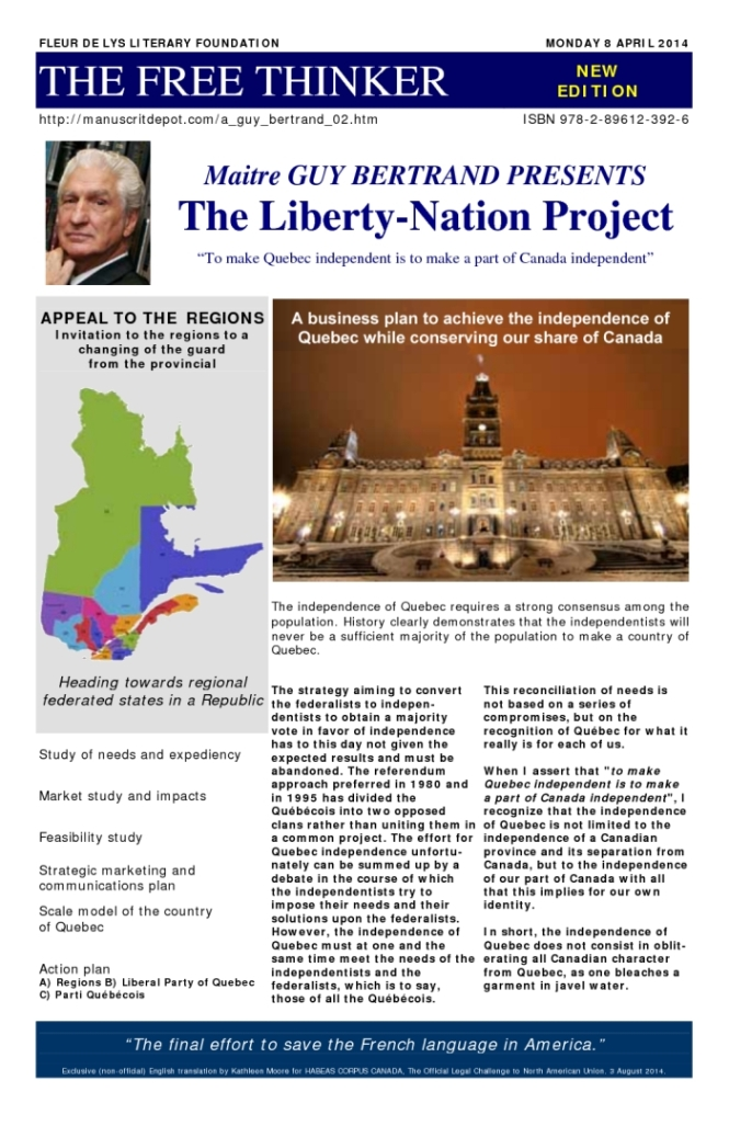 "Cover Translation: Guy Bertrand's Liberty-Nation Project (2014).  ""Heading towards regional federated states in a republic""."