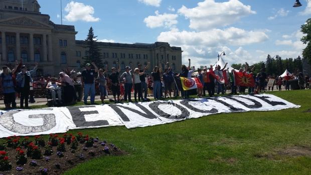 Genocide banner, Saskatchewan Legislature, Canada Day 150 (2017)