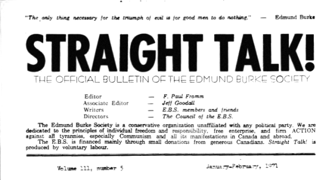 Straight Talk! The Official Bulletin of the Edmund Burke Society. Volume III, Number 5, January-February, 1971, Editor F. Paul Fromm