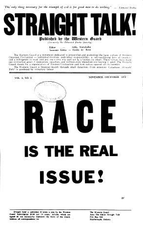 """Straight Talk! November-December 1972, claims """"RACE"""" is the real issue"""
