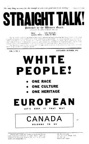 """Straight Talk! September-October 1972, claims Canada for all """"White"""" people"""