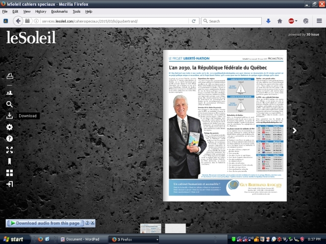 Guy Bertrand's online ad via Le Soleil newspaper promotes a federation of city-states to replace Quebec as we know it.